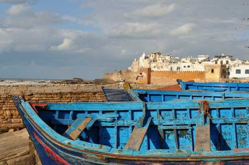Essaouira -from the harbour looking across to the medina