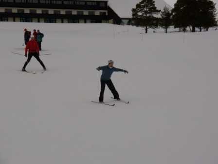 Pip practices snowplough