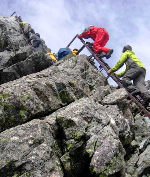 Final ascent on ladders to Mt Yarigatake