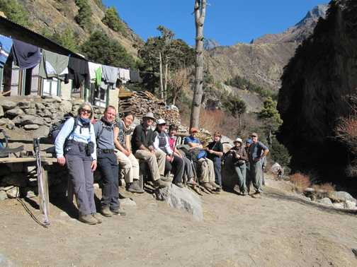 group drinks in Lukla