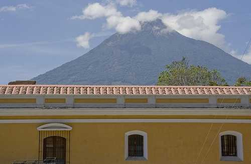 Colonial house and Volcán Agua