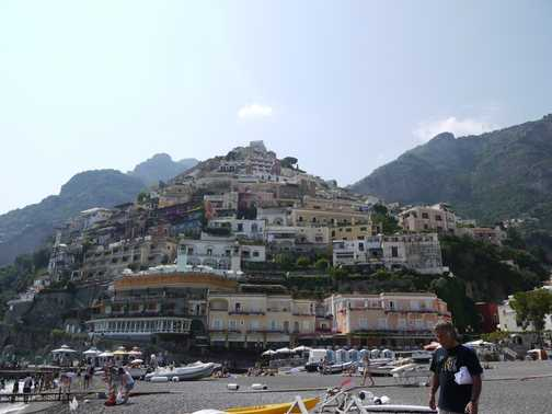 View from the beach in Positano