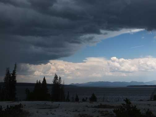 Thunderstorm over Yellowstone Lake, Yellowstone National Park.