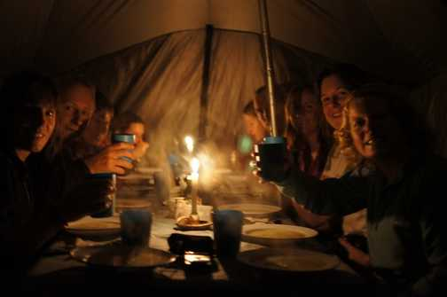 evening meal in camp