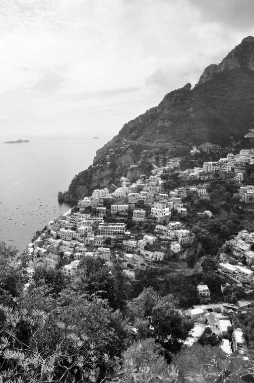 Looking down to Positano