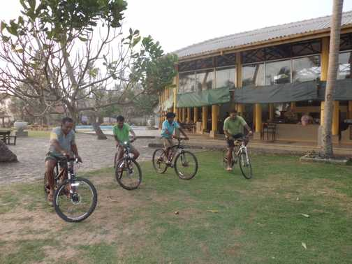 Slow bike race.  Suresh and the boys - an amazing team.