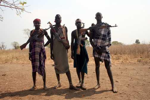 Ethiopia - Christams 2007 - 4 armed Mursi Tribesmen