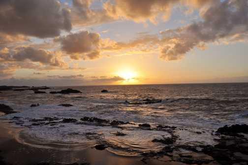 Sun setting over the sea at Essaouira