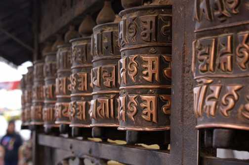 Monkey Temple prayer wheels