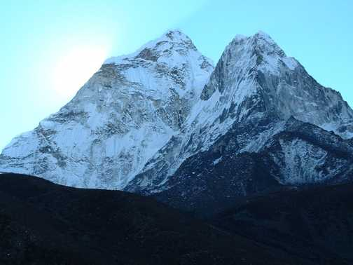 Sunrise on Ama Dablam.