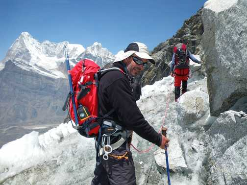 8/4 Me on the glacier access slippery slope