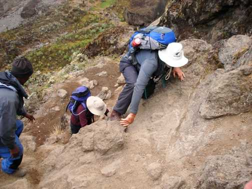 Mark climbing the Baranco wall