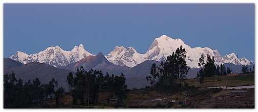 The Huayhuash at dusk from the hotel in Chiquian