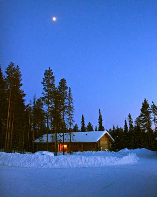 oulanka basecamp by moonlight