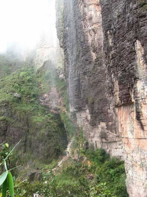 The route up to the top, under a waterfall