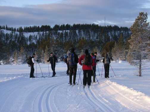 skiers gather