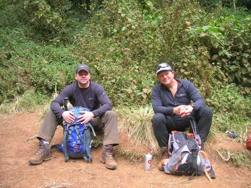 Paul and Phil taking a rest in the rain forest.