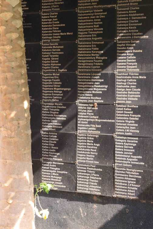 Some names at the Rwanda Memorial Centre of those killed in the 1995 massacres