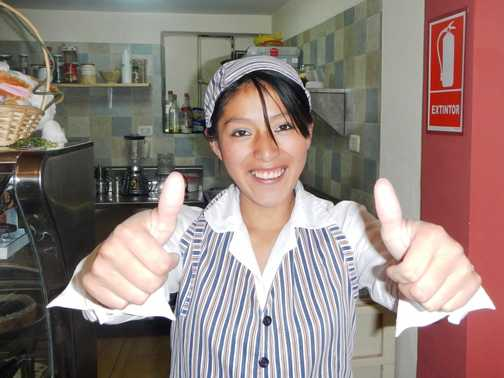 Lovely Pamela in the Nevada Café in Cusco's beautiful Plaza de Armas.