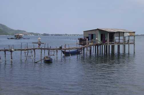 Fishing house on a lake