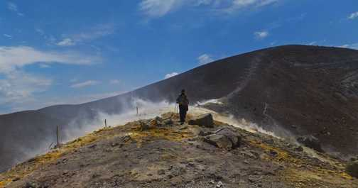 Walking across the fumaroles