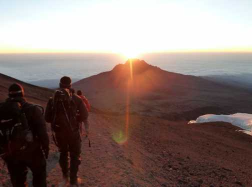 Sunrise on the way back down