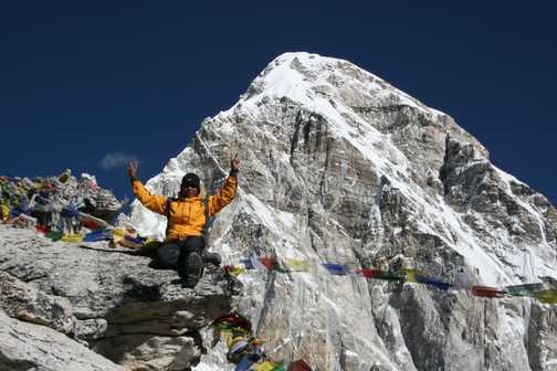 Our wonderful group leader Krishna on top of Kala Pattar