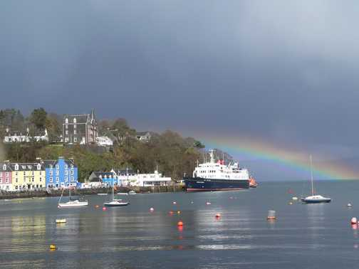 Tobermory with rainbow and Hebridean Princess