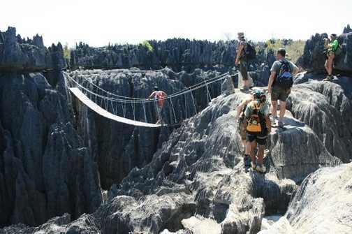 Rope bridge at Tsingy