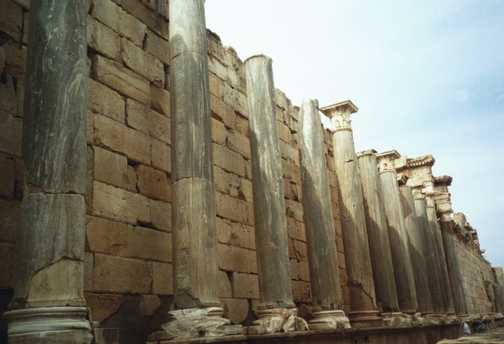 Outside the basilica, Leptis