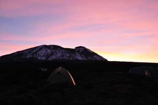 Sunrise at Shira Hut camp