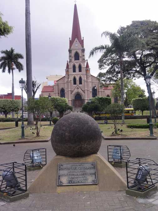 La Merced Church in San Jose . The sphere is one of many  in Costa Rica. Their origins are unknown.