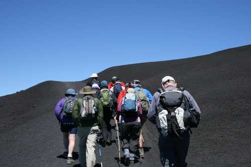Climbing to Etna's summit