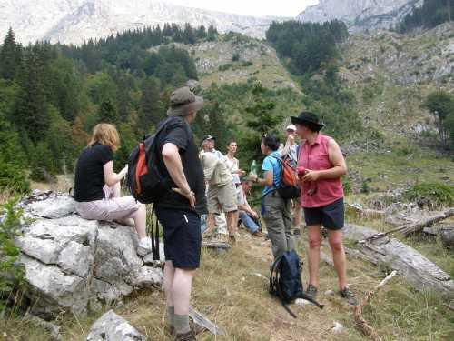 Group hiking on Bosnia/Montenegro border