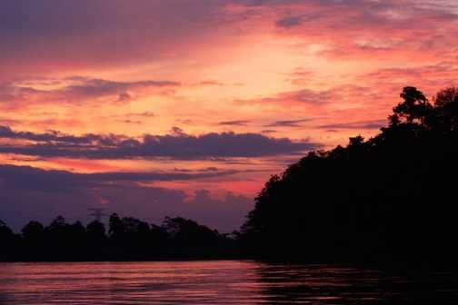 Sunset on kinabatangan river