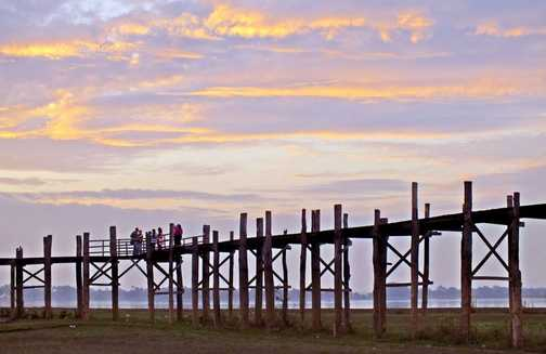 U Bein Bridge near Mandalay at sunrise