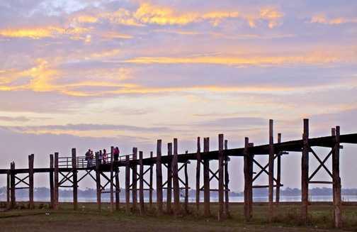 U Bein Bridge near Mandalay at sunrise