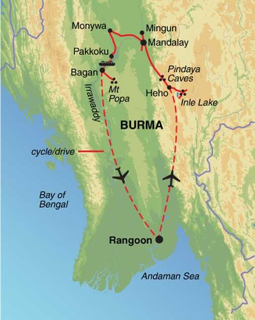 Burma by Bike route map, Easter 2013