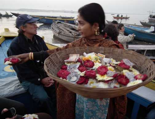selling offerings on ganges at varanasi