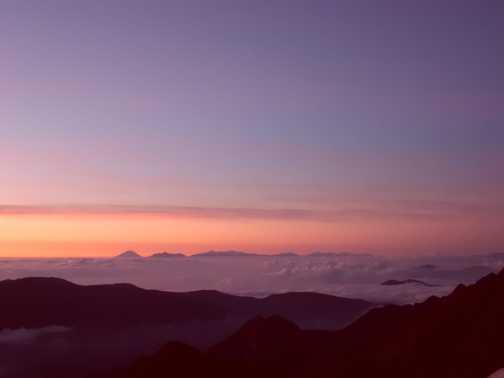 Sunrise from Yari.  Mt Fuji 100 miles away in the distance