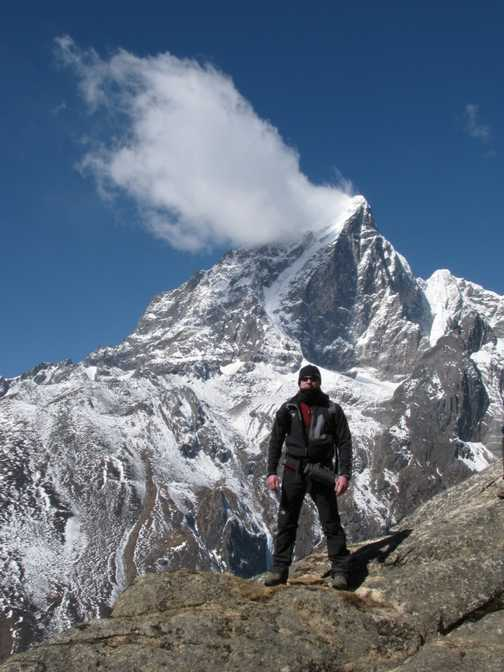 Everest's summit on the route to base camp