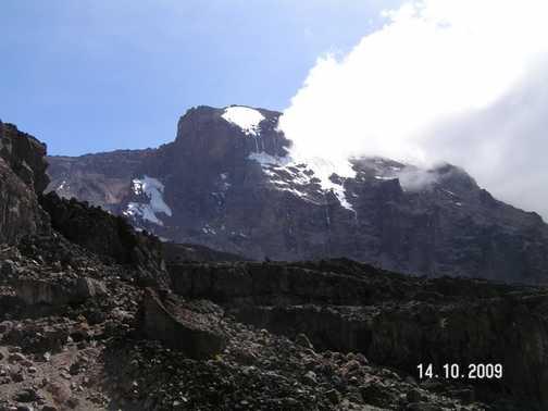 Looking upto Mt Kilimanjaro