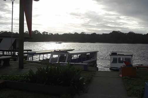 Moored boats at Laguna Lodge, Tortuguero