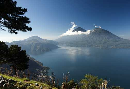 Lake Atitlan and its guardian volcanoes...