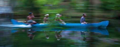 Canoe speeding through the gloom in Kerala Backwaters