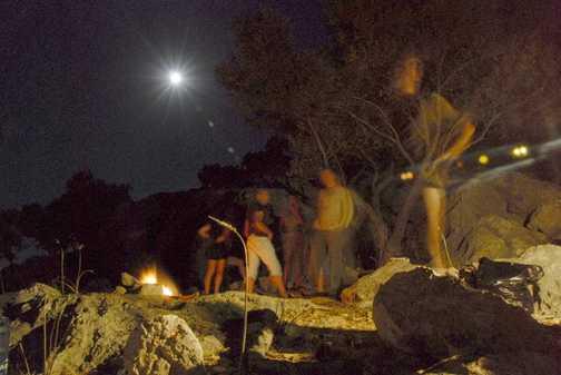Island camp night sky