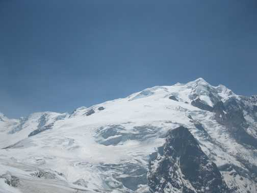 8/4 Mera Peak from first acces on glacier. High ZZZCamp is behind rocks on left of glacier half way