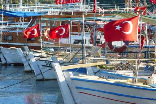 Turkish flags in Ucagiz