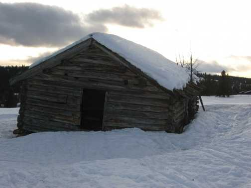"""Barn with snow"""