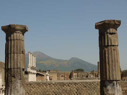 In Pompei, with a view of Vesuvius